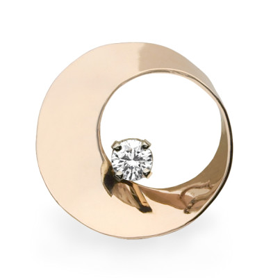 Mobius Twist pendant with diamond in rose gold