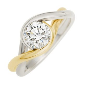 Brown Goldsmiths own Embrace ring is our Signature two tone of Platinum and 18k yellow gold with a diamond