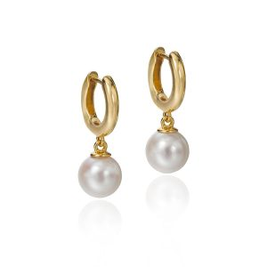 pearl drops on gold hoops