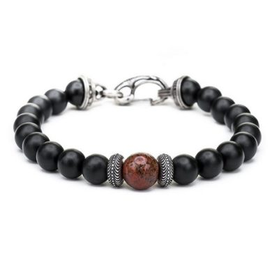 The Gentis clan bead bracelet with dinosaur bone center bead