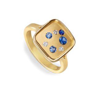 Sapphire and diamond Galaxy ring
