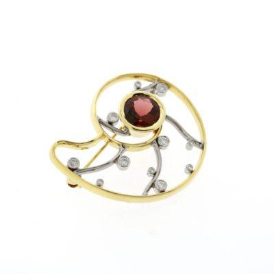 diamond tourmaline nautilus brooch