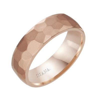 Men's Band Hammered Rose Gold