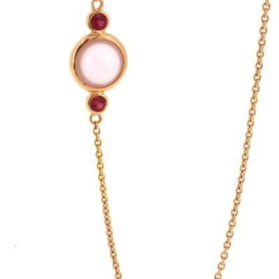 Rose quartz and ruby necklace