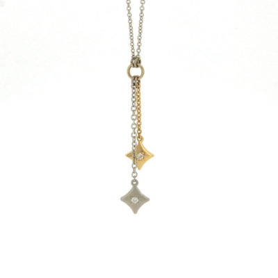 vault sale double drop diamond necklace white gold