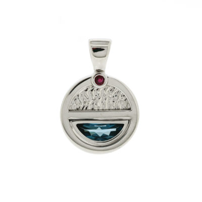vault sale half moon blue topaz and ruby pendant