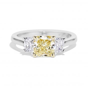Natural Yellow Radiant cut diamond ring