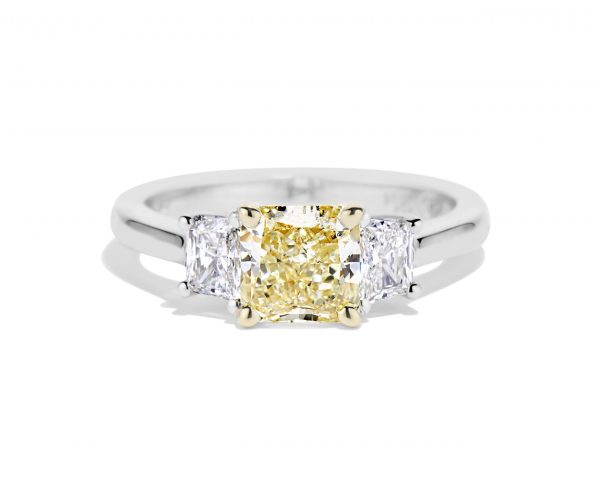 Natural Yellow Radiant cut diamond ring