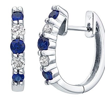 Sapphire and Diamond Huggie Hoops