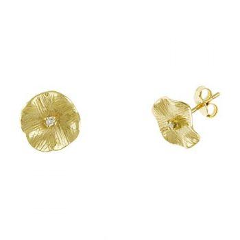 Gold Flower Earrings with Diamond