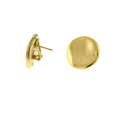 gold button earrings with a clip