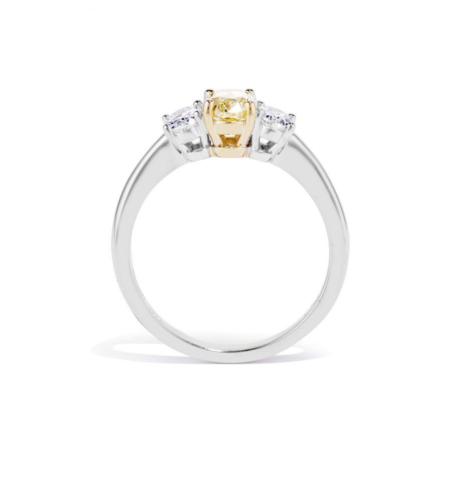 oval yellow diamond ring