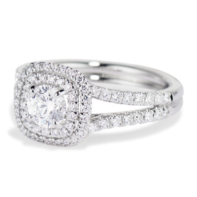 Double cusion shape halo ring