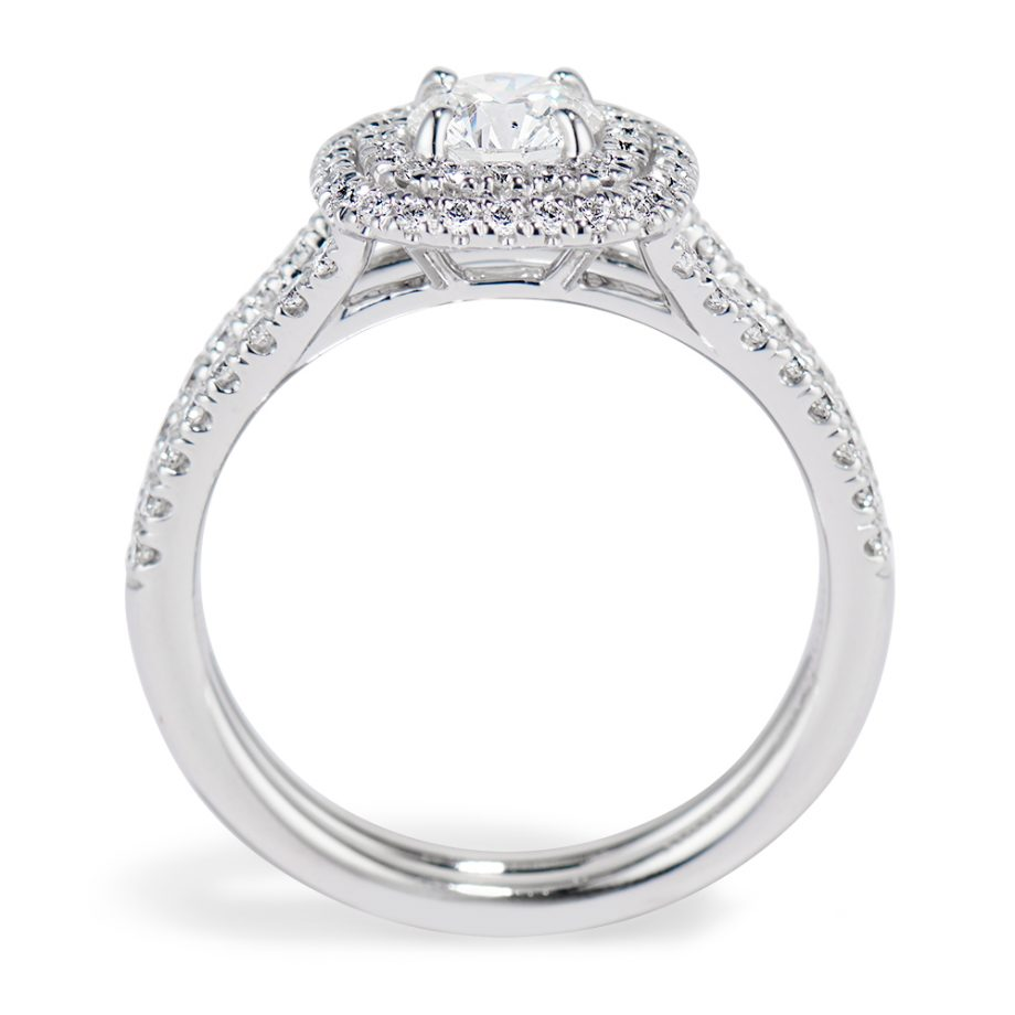 Side View Cushion double halo ring
