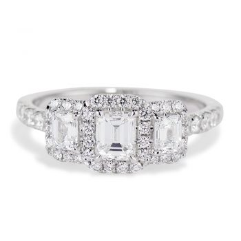 Emerald Cut Diamond Trio Ring