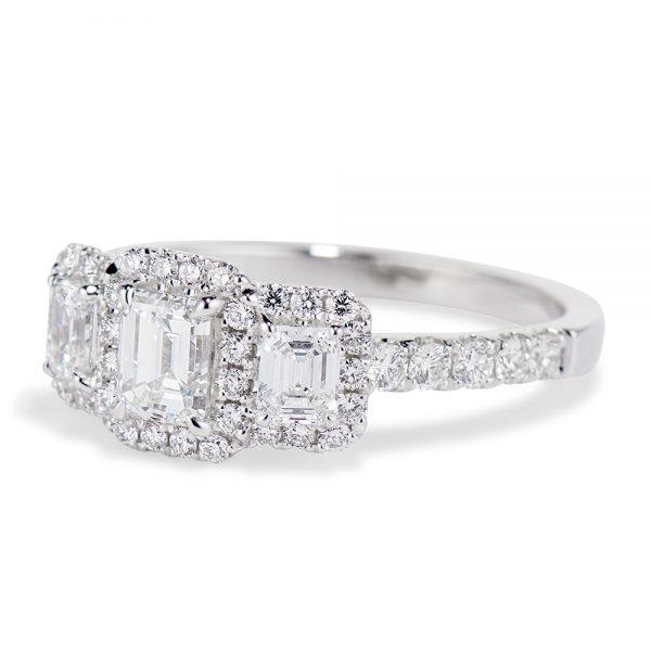 Emerald Cut Diamond Trio Ring