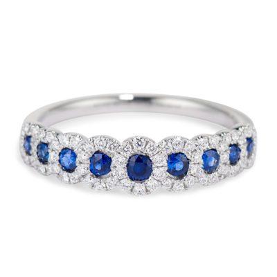 Sapphire with Diamond Halo