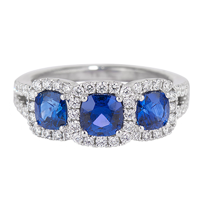 Triple Sapphire Diamond Ring