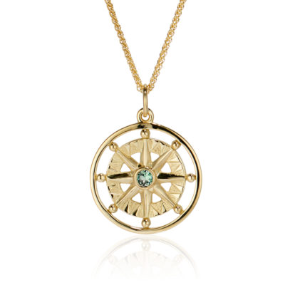 Green tourmaline Compass Rose