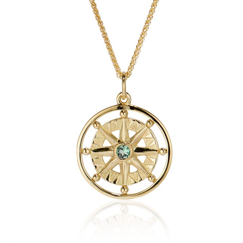 Maine Tourmaline Compass Rose 18k yellow gold 393344
