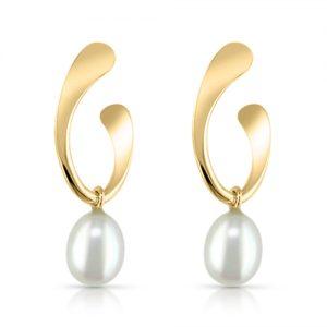 Teardrop Pearl Hoop Earrings