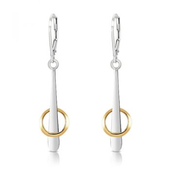 Hula Hoop Two-tone silver and gold dangle earrings