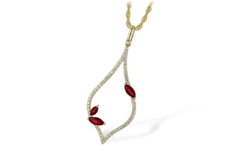 leaf necklace with diamonds and rubies