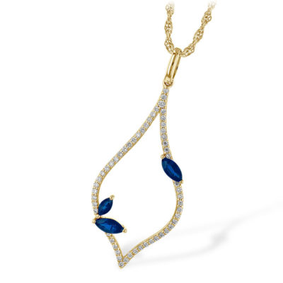 Leaf Necklace with Sapphire