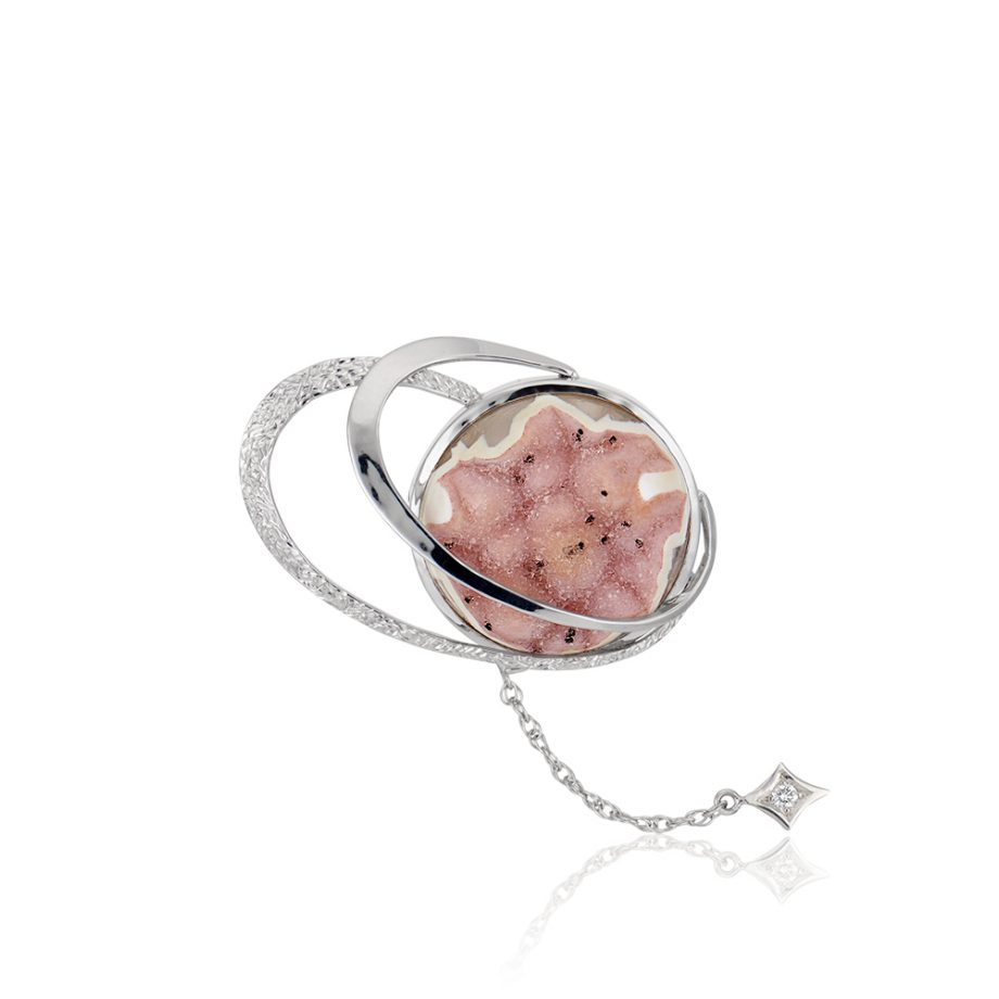 Orbit Pin - Druzy and Diamond