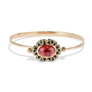 pink and green tourmaline spin bracelet