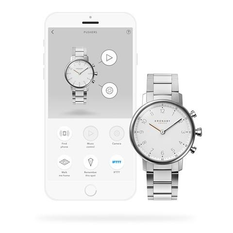 Kronaby Nord S0710-1: 38MM, White Dial, Steel Silver Bracelet #280021 smartwatch watch App