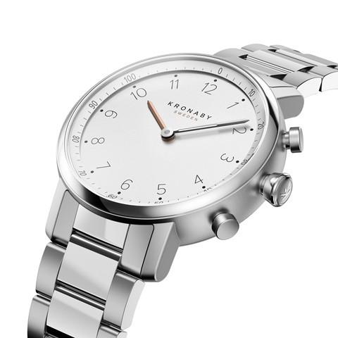 Kronaby Nord S0710-1: 38MM, White Dial, Steel Silver Bracelet #280021 smartwatch watch side