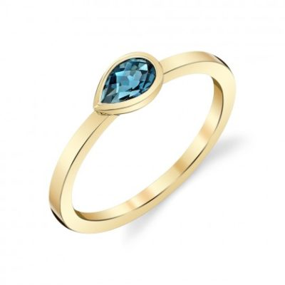 pear shaped blue topaz ring