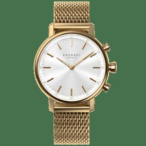 Kronaby Carat #S0716-1: 38MM, White Dial, Gold Mesh Bracelet #280030 smartwatch watch front