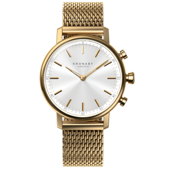 Kronaby Carat #S0716-1: 38MM, White Dial, Gold Mesh Bracelet #280030 smartwatch watch front