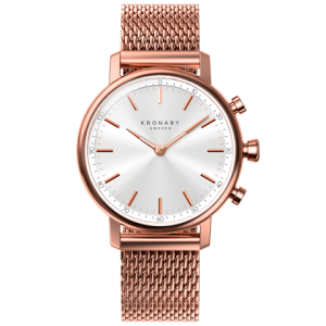 Kronaby Carat S1400-1: 38MM, White Dial, Rose Mesh Bracelet #280028 smartwatch watch front
