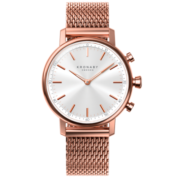 Kronaby Carat S1400-1: 38MM, White Dial, Rose Mesh Bracelet #280028 smartwatch watch front
