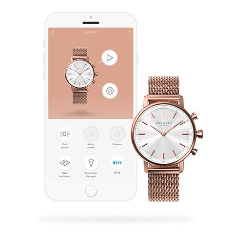 Kronaby Carat S1400-1: 38MM, White Dial, Rose Mesh Bracelet #280028 smartwatch watch App