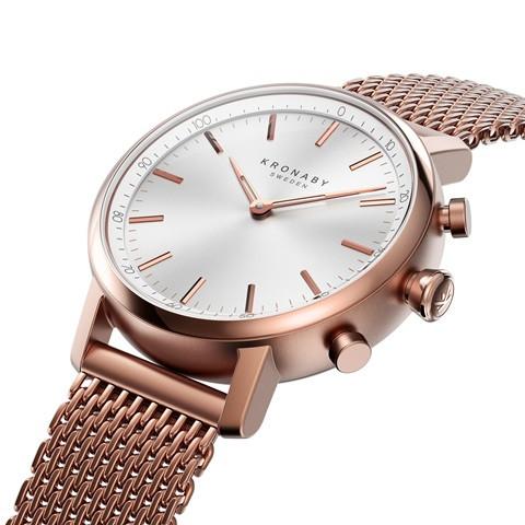 Kronaby Carat S1400-1: 38MM, White Dial, Rose Mesh Bracelet #280028 smartwatch watch side