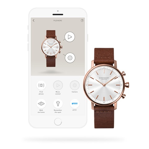 Carat S1401: 38MM, White Dial, Brown Leather #280029 smartwatch watch back with app