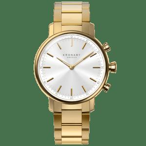 Kronaby Carat S2447-1: 38MM, White Dial, Gold Bracelet #280025 smartwatch watch front