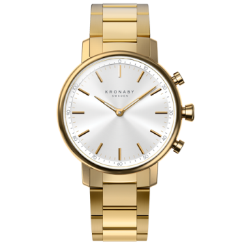 Kronaby Carat S2447-1: 38MM, White Dial, Gold Bracelet #280025 smartwatch watch front