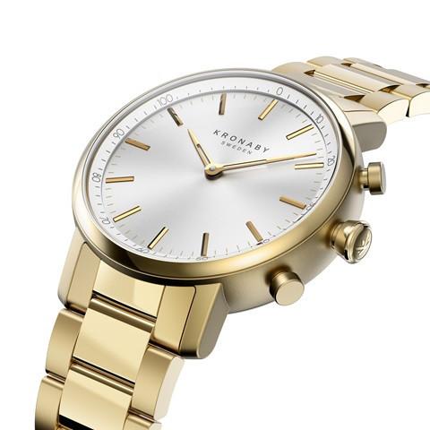 Kronaby Carat S2447-1: 38MM, White Dial, Gold Bracelet #280025 smartwatch watch side