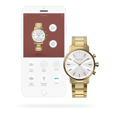 Kronaby Carat S2447-1: 38MM, White Dial, Gold Bracelet #280025 smartwatch watch app