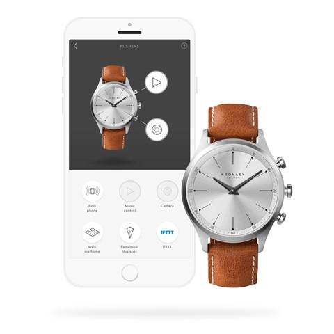 Kronaby Sekel S3125-1: 41MM White Dial, Brown Leather #280019 smartwatch watch App