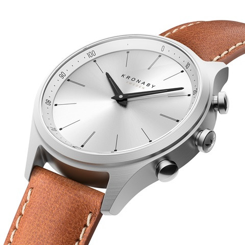 Kronaby Sekel S3125-1: 41MM White Dial, Brown Leather #280019 smartwatch watch side
