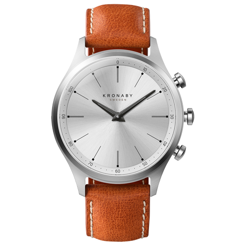 Kronaby Sekel S3125-1: 41MM White Dial, Brown Leather #280019 smartwatch watch
