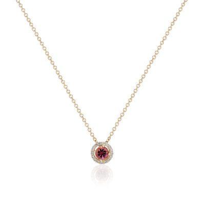 maine pink tourmaline halo pendant