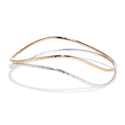 two tone hammered bangle