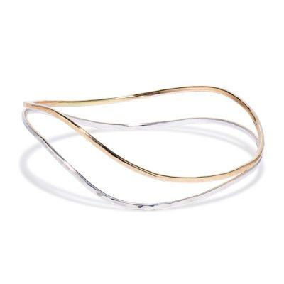 Two tone curvy bangle bracelet